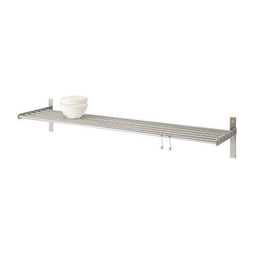 GRUNDTAL Wall shelf   Saves space on the worktop.  Can be used as a pot lid holder as well.  May also be used in high humidity areas.
