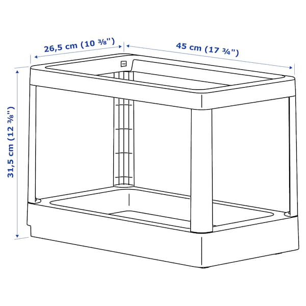 HÅLLBAR Pull-out frame for waste sorting, light grey