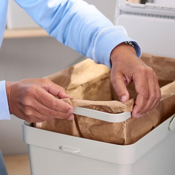 HÅLLBAR Waste sorting solution, for METOD kitchen drawer ventilated/light grey, 40 l