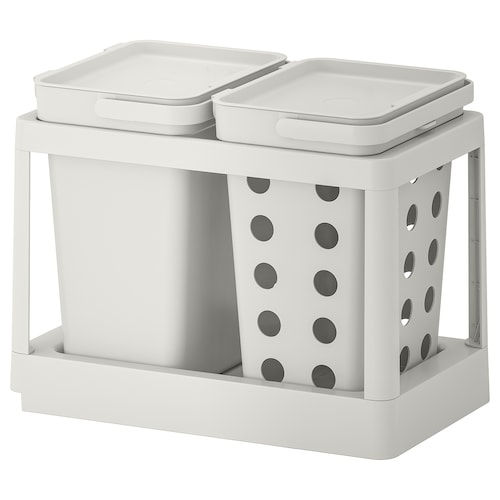 HÅLLBAR waste sorting solution with pull-out ventilated/light grey 20 l