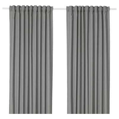 HANNALENA Room darkening curtains, 1 pair, grey, 145x250 cm