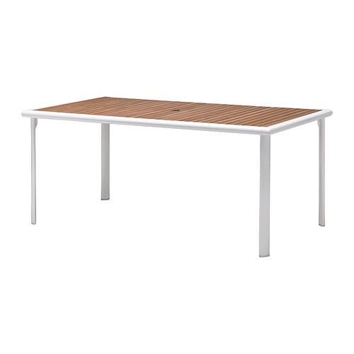 HASSELÖN Table   Rustproof aluminium frame; both sturdy and lightweight.