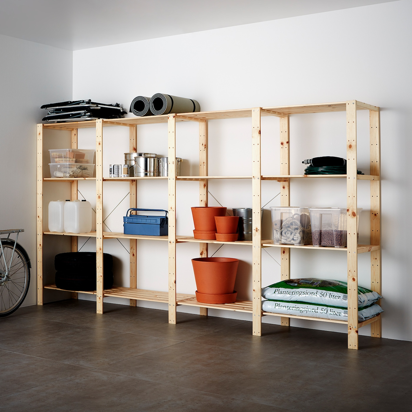 HEJNE 4 sections/shelves, softwood, 307x50x171 cm