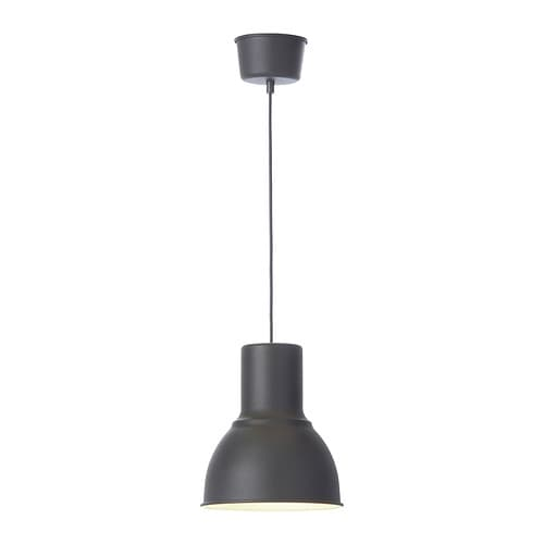 HEKTAR Pendant lamp   This lamp gives a pleasant light for dining.   It spreads a good directed light across your dining or bar table.