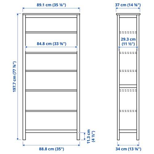 HEMNES Bookcase, black-brown/light brown, 90x198 cm