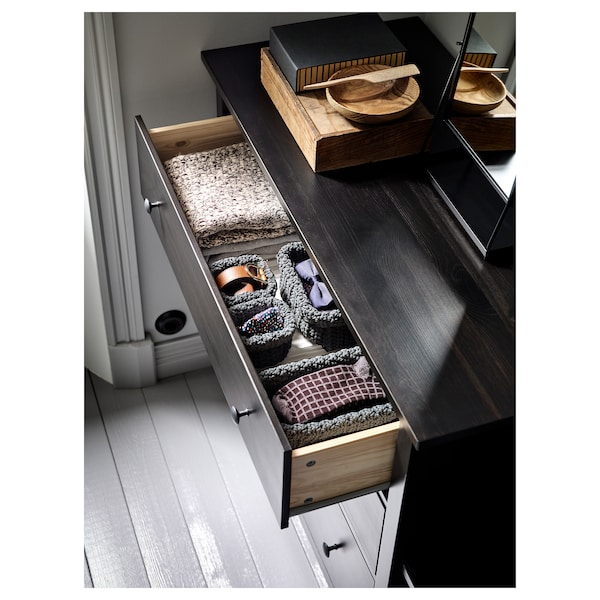 HEMNES Chest of 3 drawers, black-brown, 108x96 cm