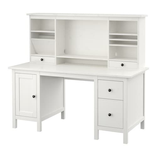 HEMNES Desk with add-on unit   Solid wood is a durable natural material.  You can mount the drawers to the right or left, according to your needs.