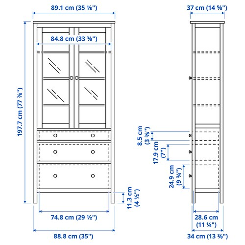 HEMNES Glass-door cabinet with 3 drawers, white stain, 90x198 cm