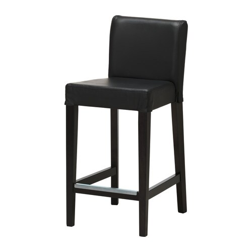 HENRIKSDAL Bar stool with backrest   Soft, hardwearing and easy care leather, which ages gracefully.  Padded seat for enhanced seating comfort.