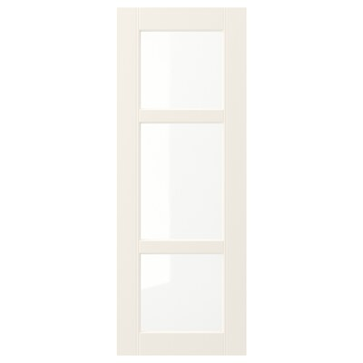 HITTARP Glass door, off-white, 30x80 cm