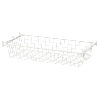 HJÄLPA Wire basket with pull-out rail, white, 80x40 cm