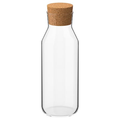 IKEA 365+ Carafe with stopper, clear glass/cork, 0.5 l