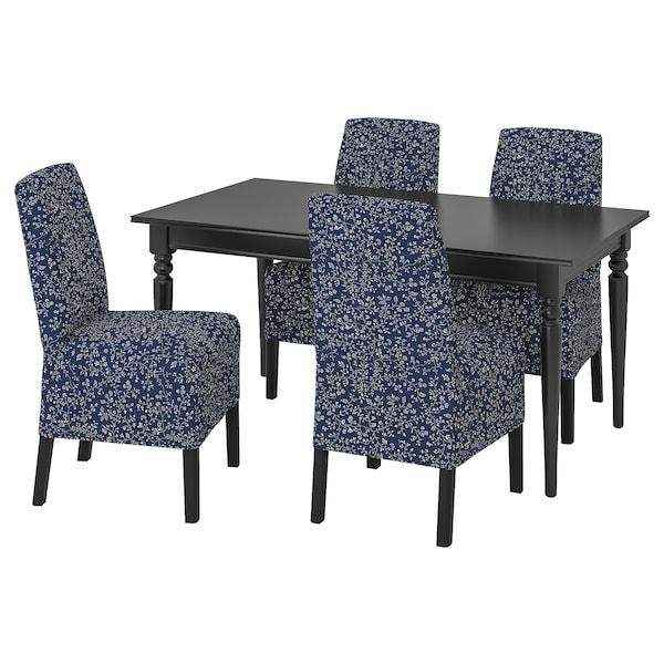 INGATORP / BERGMUND Table and 4 chairs, black/Ryrane dark blue, 155/215 cm