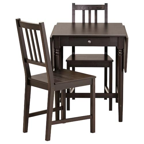 INGATORP / STEFAN Table and 2 chairs, black-brown/brown-black, 65 cm