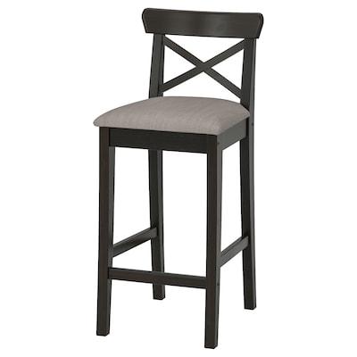 INGOLF Bar stool with backrest, brown-black/Nolhaga grey-beige, 65 cm