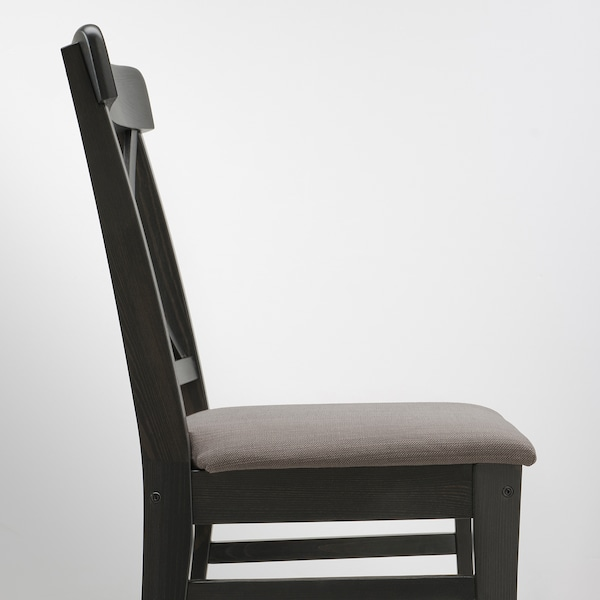 INGOLF Chair, brown-black/Nolhaga grey-beige