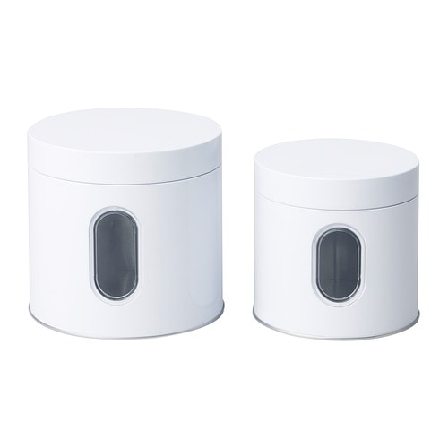 INRE Tin with lid set of 2   Suitable for cakes, biscuits and other dry foodstuffs.  Space-saving; small sizes can be stacked into bigger sizes.