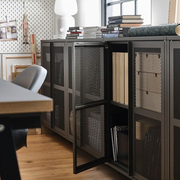IVAR 1 section/shelves/cabinet, pine/grey mesh, 89x30x124 cm