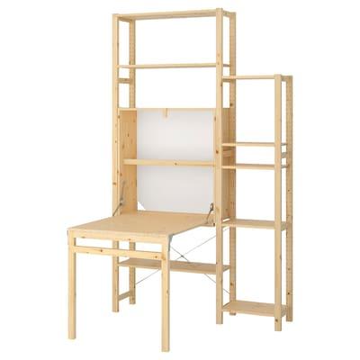 IVAR 2 sec/storage unit w foldable table, 134x30-104x226 cm