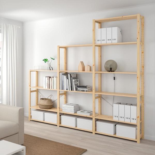 IVAR 3 sections/shelves, pine, 259x30x226 cm