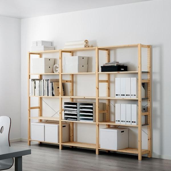 IVAR 3 sections/shelves, pine, 259x30x179 cm