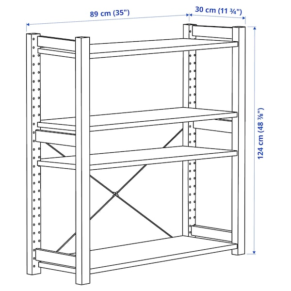 IVAR Shelving unit, pine, 89x30x124 cm
