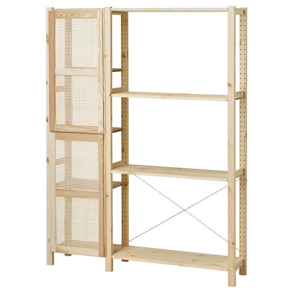 IVAR Shelving unit with doors, pine, 134x30x179 cm