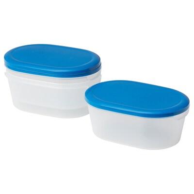 JÄMKA Food container, transparent white/dark blue, 1.2 l
