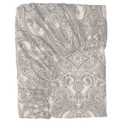 JÄTTEVALLMO Fitted sheet, beige/dark grey, 90x200 cm