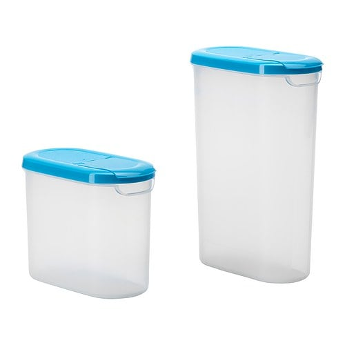 JÄMKA Jar with lid, set of 2   Remove the lid completely to fill the jar and open half the lid to make it easier to pour from.