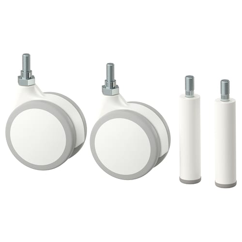 JONAXEL 2 legs and 2 castors white 4.5 cm 15 kg 4 pieces