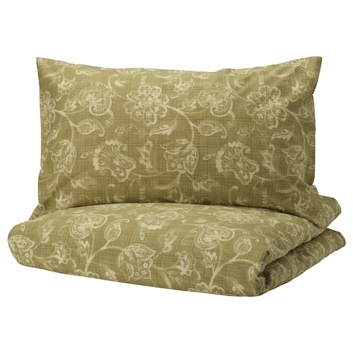 JUNIMAGNOLIA quilt cover and 2 pillowcases green/white 152 /inch² 2 pieces 220 cm 240 cm 50 cm 80 cm