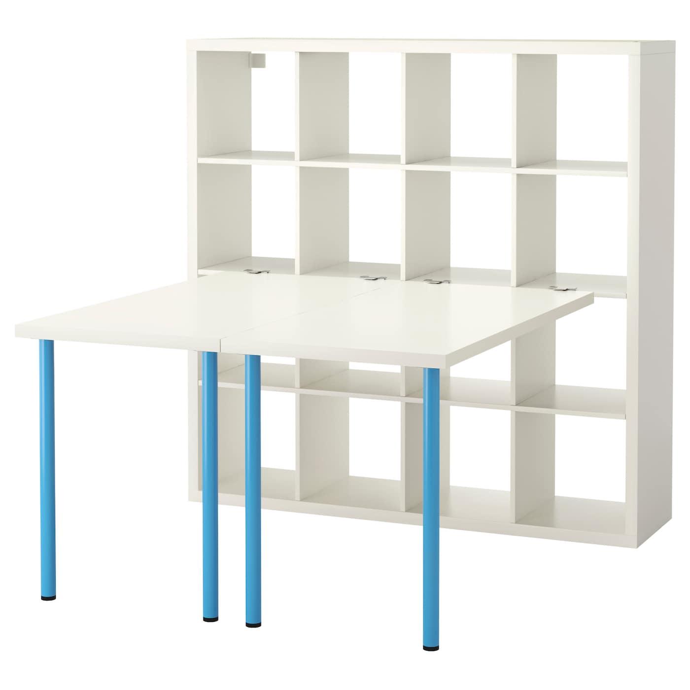 KALLAX Desk combination - white, blue - IKEA