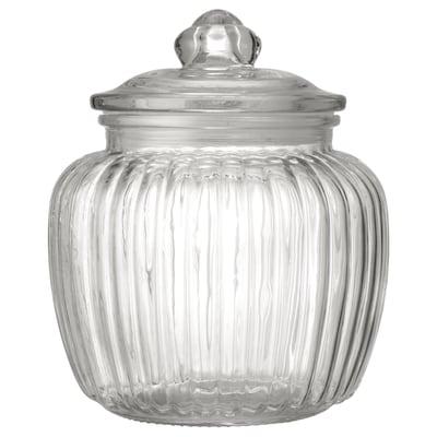 KAPPROCK Jar with lid, clear glass, 1.4 l