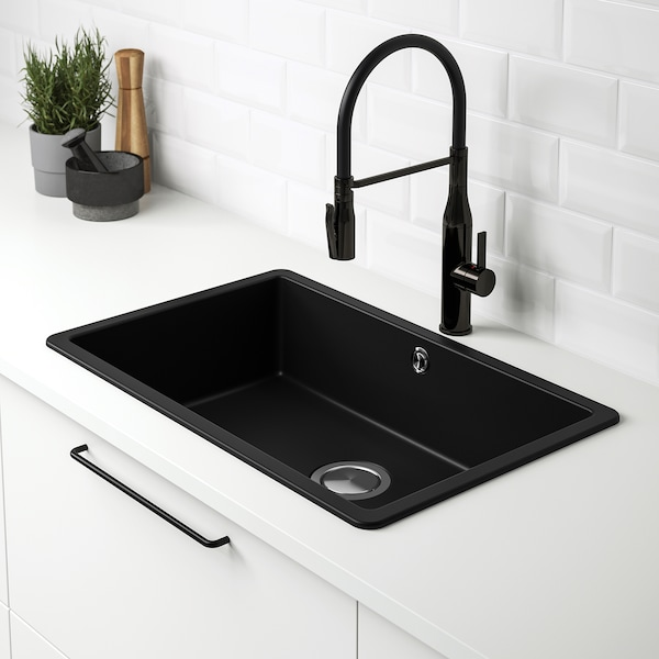KILSVIKEN Inset sink, 1 bowl, black quartz composite, 72x46 cm