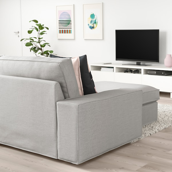 KIVIK 4-seat sofa, with chaise longue/Orrsta light grey