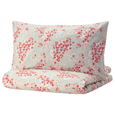 KLIBBGLIM Quilt cover and pillowcase, multicolour/floral patterned, 150x200/50x80 cm