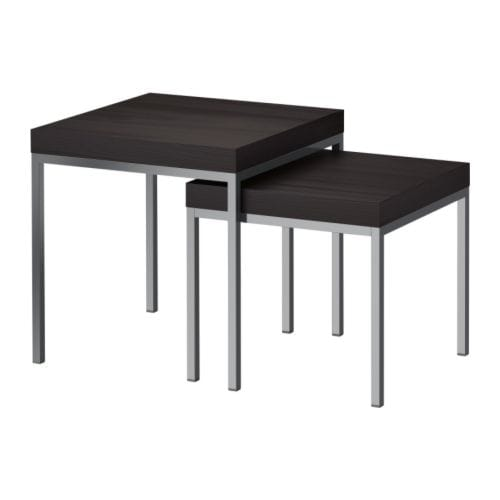 KLUBBO Nest of tables, set of 2   Can be pushed together to save space.  Veneered top; durable, stain resistant and easy to keep clean.