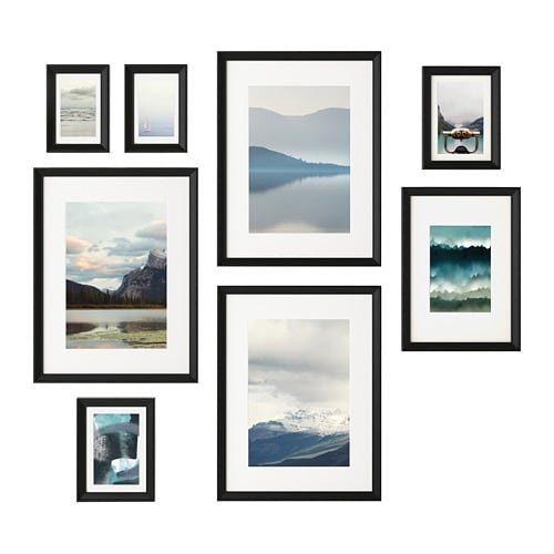 KNOPPÄNG Frame with poster, set of 8 - IKEA
