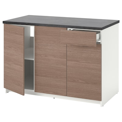 KNOXHULT Base cabinet with doors and drawer, wood effect/grey, 120 cm