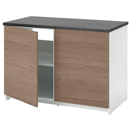 KNOXHULT base cabinet with doors wood effect/grey 122 cm 120 cm 61 cm 85 cm