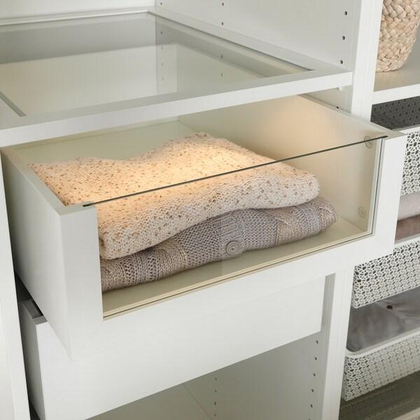 KOMPLEMENT drawer with glass front white 50 cm 58 cm 42.8 cm 56.9 cm 16.0 cm 40.1 cm 53.3 cm
