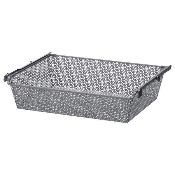 KOMPLEMENT Metal basket with pull-out rail, dark grey, 75x58 cm