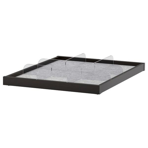 KOMPLEMENT pull-out tray with divider black-brown/transparent 46.1 cm 50 cm 56.3 cm 6.3 cm 58 cm 10 kg