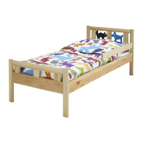 KRITTER Bed frame with slatted bed base   The guard rail prevents your child from falling out of the bed.