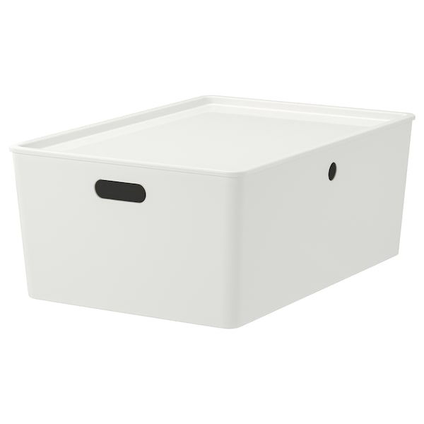 KUGGIS box with lid white 37 cm 54 cm 21 cm