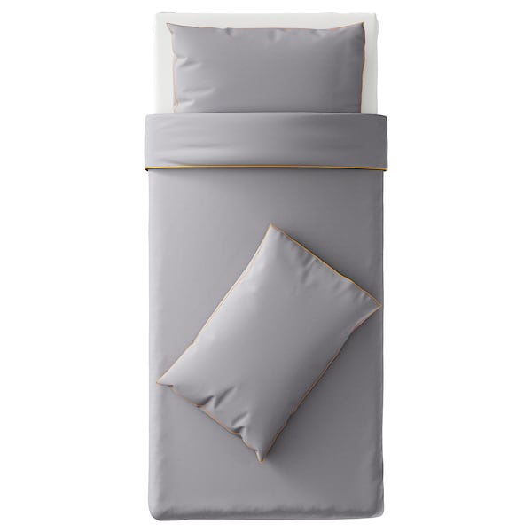 KUNGSBLOMMA Quilt cover and 2 pillowcases, grey/yellow, 150x200/50x80 cm