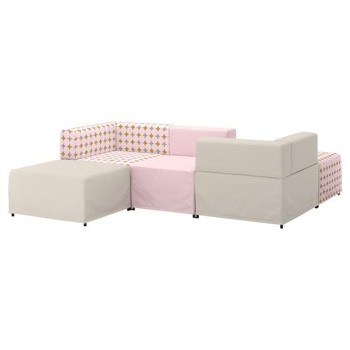KUNGSHAMN 3-seat modular sofa Idekulla pink/beige/Yttered multicolour 237 cm 71 cm 85 cm 219 cm 23 cm 65 cm 132 cm 44 cm