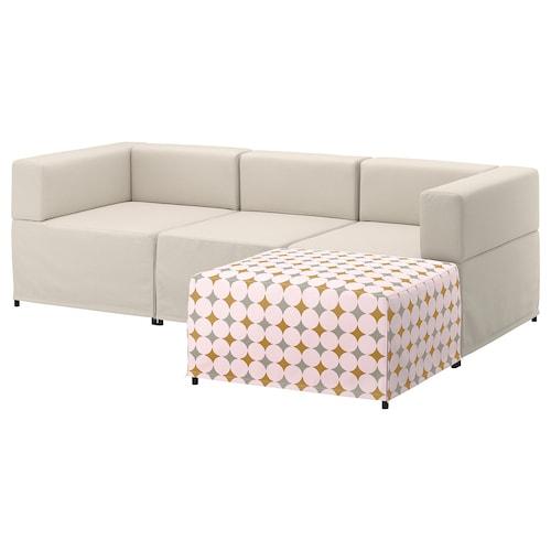 KUNGSHAMN 3-seat modular sofa Idekulla beige/Yttered multicolour 237 cm 71 cm 85 cm 152 cm 23 cm 65 cm 132 cm 44 cm