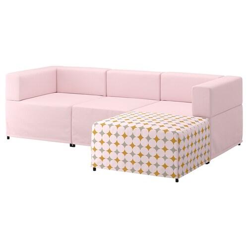 KUNGSHAMN 3-seat modular sofa Idekulla pink/Yttered multicolour 237 cm 71 cm 85 cm 152 cm 23 cm 65 cm 132 cm 44 cm